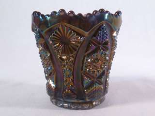 Rainbow Amethyst Rare Octagon Pattern Toothpick Holder Carnival Glass