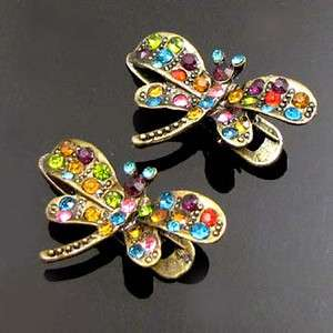 ADDL Item  2 antiqued rhinestone crystal dragonfly hair