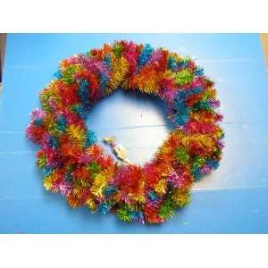 Sterling Christmas 24 Pre lit Multi colored Tinsel wreath