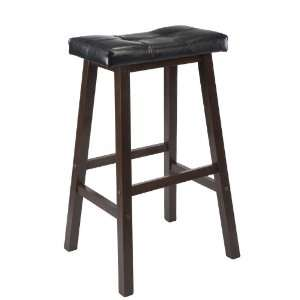 Winsome Mona 29 Inch Cushion Saddle Seat Stool, Black