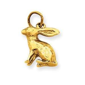 14k Rabbit Charm   Measures 17.4x11.9mm   JewelryWeb