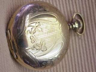 318 ART NOUVEAU ETCHED GOLD POCKET WATCH AURORA HUNTING CASE