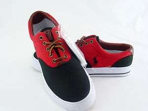 POLO RALPH LAUREN VAUGHN SADDLE CANVAS/LEATHER BLACK/RED
