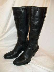 Born Black Leather Tall Knee High Zip Up Round Toe Heel Boots 7.5