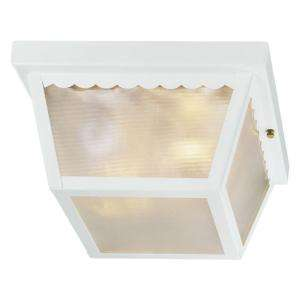 Hampton Bay Glossy White 2 Light Outdoor Flushmount WB0323 at The Home
