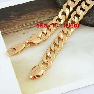 18k yellow gold filled mens necklace curb chain link 500mm 7mm width