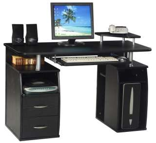 Computer Desk Home Office Table PC Black Glass Work