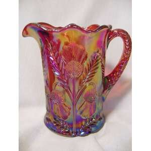 Red Carnival Glass Inverted Thistle Pattern Pitcher