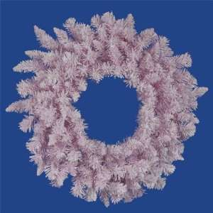 New   48 Flocked Cupcake Pink Artificial Spruce Christmas Wreath