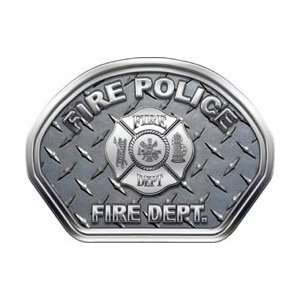Firefighter Fire Helmet Front Face Fire Police Diamond Plate Decal