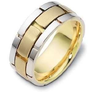 9mm Titanium & 18 Karat Yellow Gold Designer Link Style Wedding Band