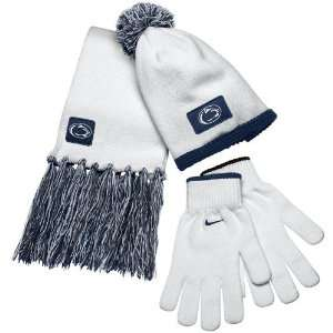 Nittany Lions Ladies White Navy Blue Beanie, Scarf & Glove Winter Set