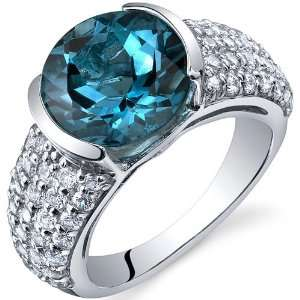 Bezel Set Large 4.50 Carats London Blue Topaz Ring in Sterling Silver