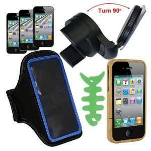 Holder + Blue Armband + Black Car Holder for Apple Iphone 4 4S by