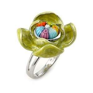 Murano Glass Lime Multicolor Flower Sterling Silver Ring, Size 8 Alan