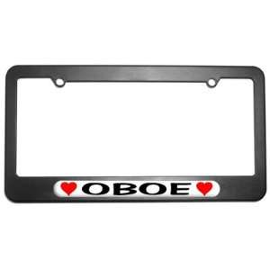 Oboe Love with Hearts License Plate Tag Frame Automotive