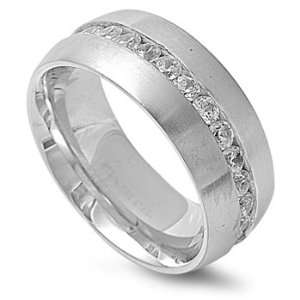 Stainless Steel 10mm Cz Eternity Ring (Size 8   14)   Size 12 Jewelry
