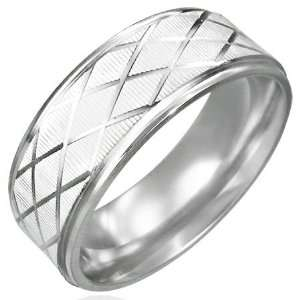 Mission Stainless Steel Diamond Cut Grid Ring  Size 8