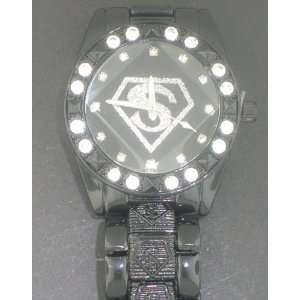 SUPERMAN GUN METAL WITH BLACK FACE HIP HOP ICED WATCH