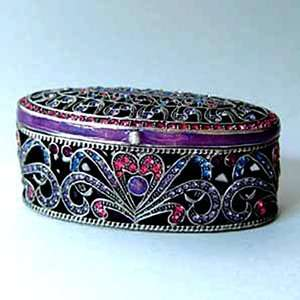 Pewter Swarovski Crystal Enameled Byzantine Keepsake Box (1 1/2 x 2
