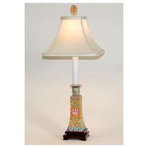 Traditional Multicolored Porcelain Candlestick Table Lamp