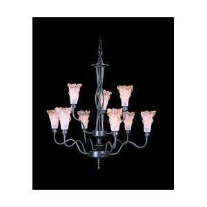 Stone Crystal Collection Wrought Iron 9 Light Up Lighting Chandelie