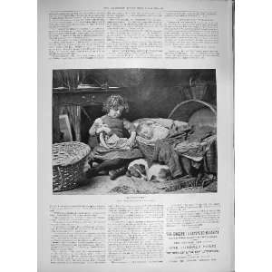 1894 DONT YOU WAKE LITTLE GIRL SLEEPING BABY PET DOG