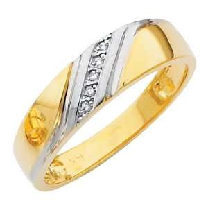 14K Yellow and White 2 Two Tone Gold Mens Round cut Diamond Wedding