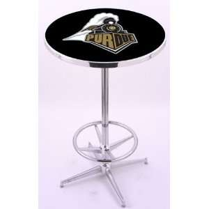 Purdue University Chrome Pub Table With Foot Rest Sports