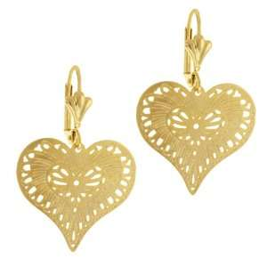 1.5 Inch Stunning Heart Shape Dangle Yellow Gold Plated
