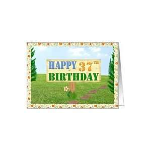 Happy 37th Birthday Sign on Footpath Card Toys & Games