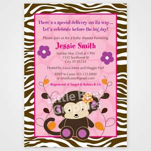 20 Jacana Monkey Jungle Safari Baby Shower Invitations