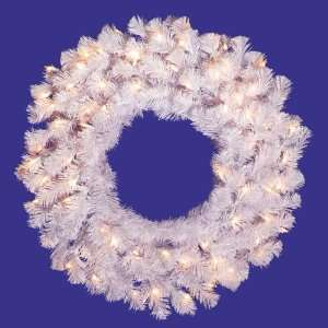 Lit Crystal White Spruce Artificial Christmas Wreath   Clear Lights