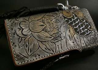 Hand carved leather in detailed unique Japanese Koi pattern Stunning