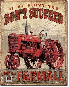Farmall Succeed IH International Harvester Tractor Farm Farming Tin