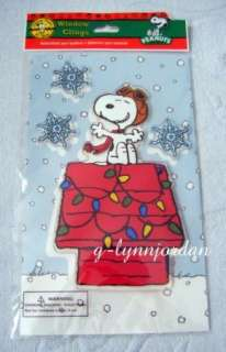 PEANUTS SNOOPY FLYING ACE CHRISTMAS WINDOW CLINGS GEL *NEW