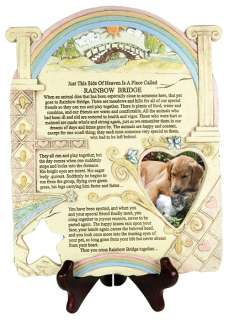 Plaque   Pet Memorial Rainbow Bridge Poem, Picture Frame, Stone Look
