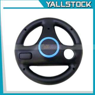 black multi axis racing steering wheel for nintendo wii